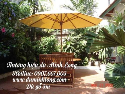 Bán dù che nắng tại Bình Phước - mẫu dù gỗ 3m