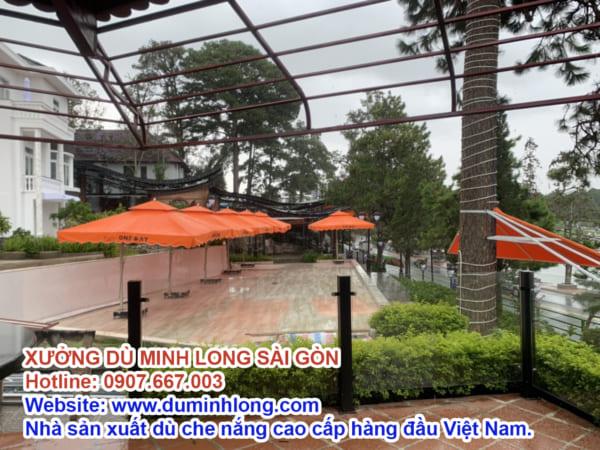 Dù vuông 3mx3m lệch tâm cao cấp màu cam Minh Long Sài Gòn
