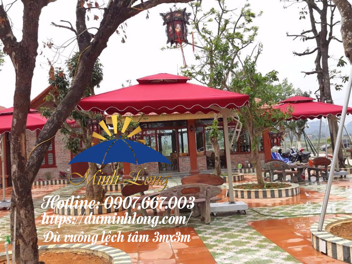Xưởng Minh Long bán dù che nắng tại Quảng Ngãi, mẫu dù vuông cao cấp