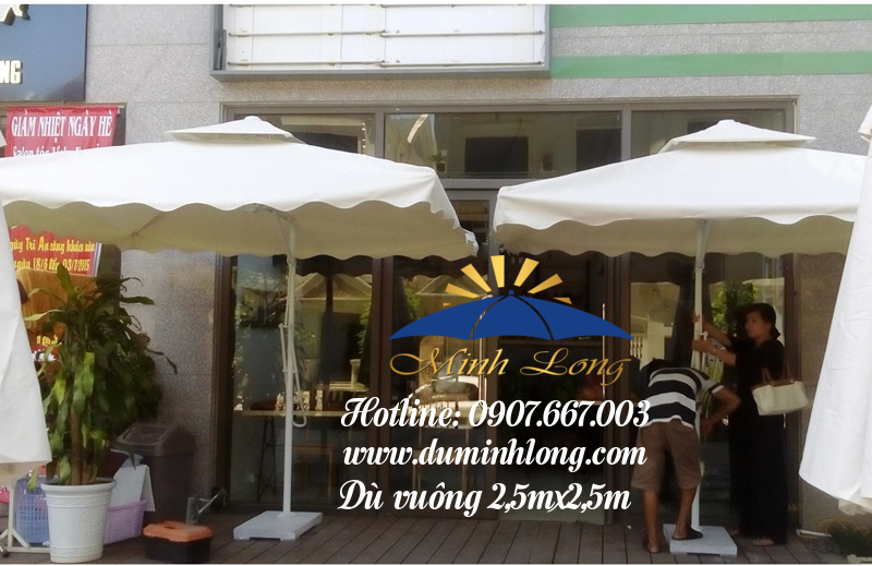 Địa chỉ bán dù che nắng tại Bình Định, mẫu dù vuông 2,5m nhập khẩu