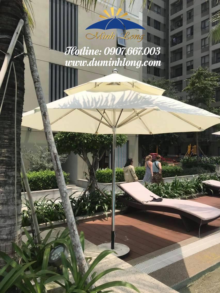 Dù che nắng tại Cam Ranh, Khánh Hoà chất lượng, mẫu dù inox 3m 2 tầng