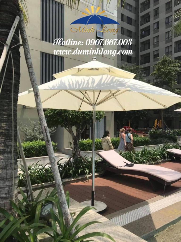 Dù che nắng tại Phan Thiết, mẫu dù tròn inox 2 tầng cao cấp